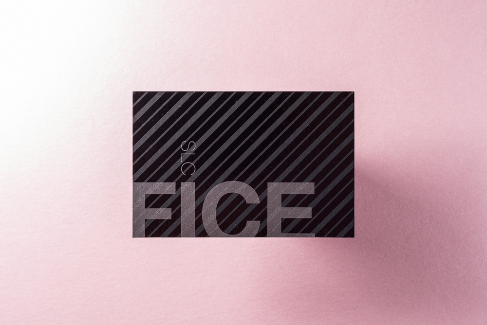 business card with silver metallic ink and spot uv