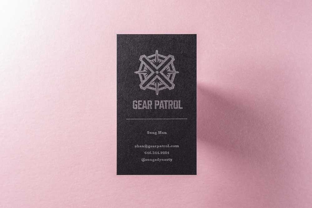 business card with silver metallic ink