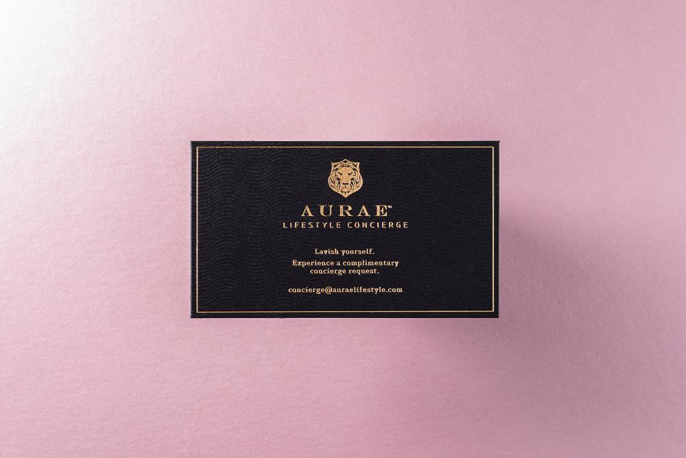 Gold foil and varnish on letterpress business card
